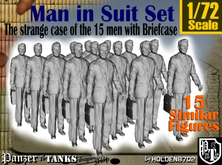 1/72 Man In Suit W/ Briefcase Set 3d printed