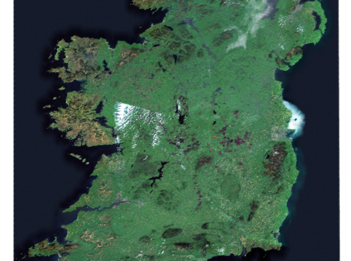 Ireland from Space Map 3d printed