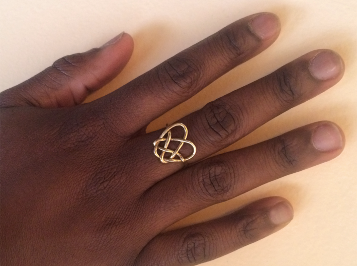 Heart Knot Ring 3d printed 18K gold plated material pictured