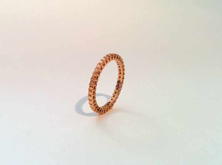 """Rivière small """"diamonds"""" 3d printed Real ring Polished Bronze"""