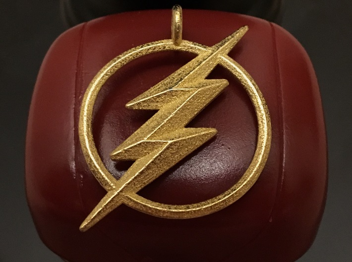 The Flash Keychain 3d printed Printed in Polished Gold Steel