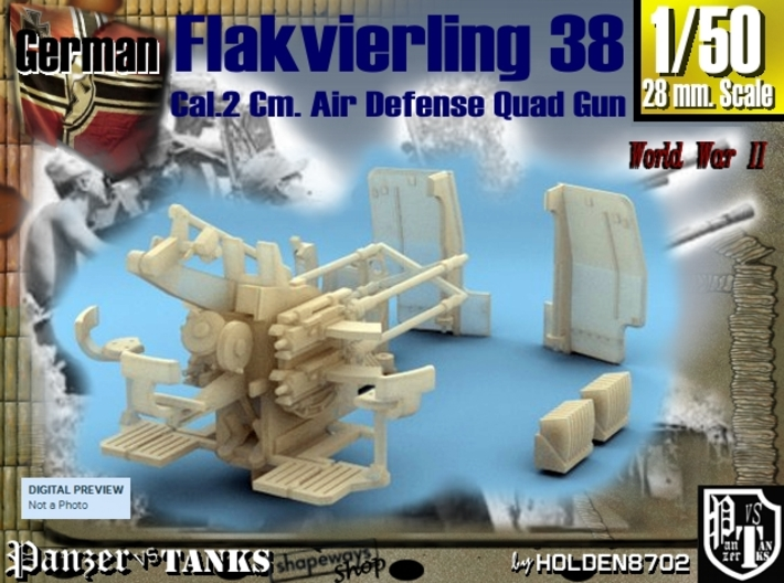 1-50 Flakvierling 38 For A-Wagen 3d printed