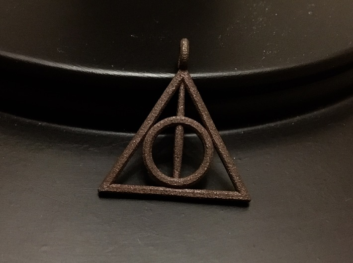 The Deathly Hallows Keychain/Pendant 3d printed Printed in Matte Bronze Steel