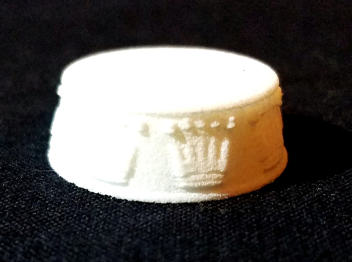 Chess Queen Base - 1 inch 3d printed White Strong and Flexible - Photo on Black Fabric