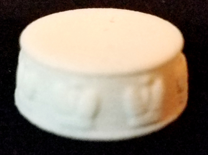 Chess King Base - 1 inch 3d printed White Strong and Flexible - Photo on Black Fabric