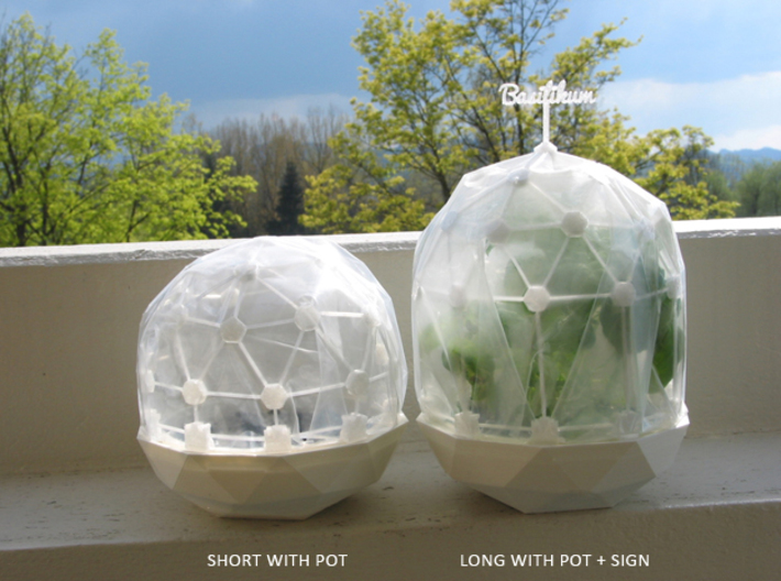 MGD-11 (10x): A Set with 10 B-Connectors 3d printed Flexible Mini Greenhouse-Dome with Pot (Sets short and long + sign). Own 3D-prints with PLA.