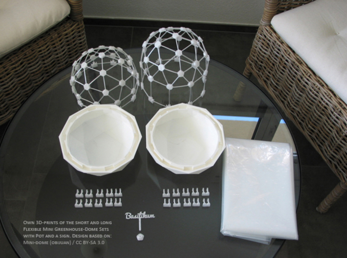 MGD-03 (10x): A Set with 10 Hexa-Y-parts 3d printed Flexible Mini Greenhouse-Dome with Pot (Sets short and long + sign). Own 3D-prints with PLA.