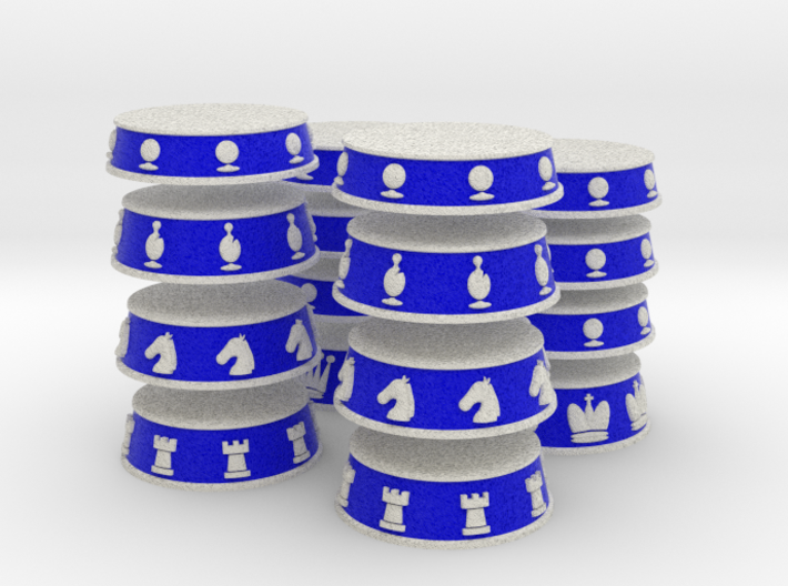 Chess Bases White over Blue - 1 inch 3d printed