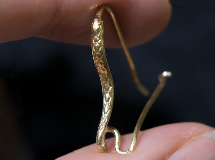 Earring Hooks 1, Snake 3d printed Still unpolished
