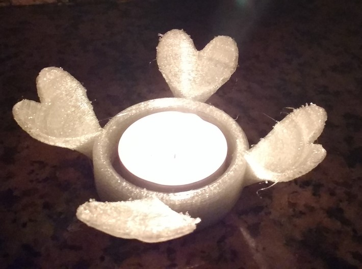 4 Heart Tealight Shader 3d printed