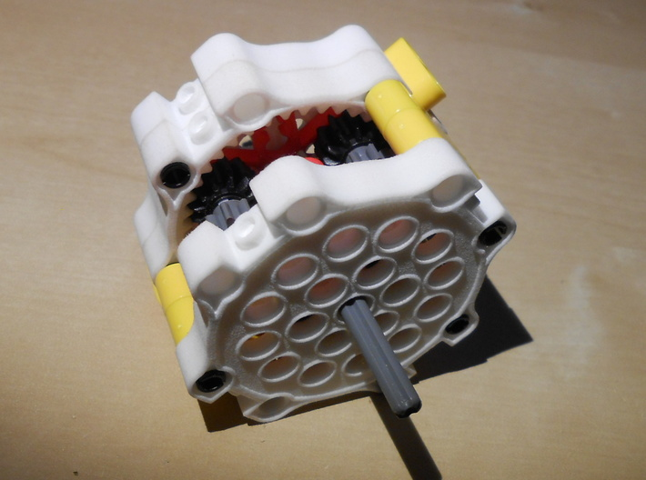 LEGO®-compatible gearbox cap 3d printed Complete gearbox with caps (other parts included)