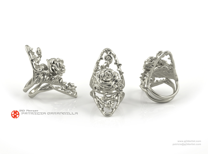 Dangerous - Silver Rose Ring 3d printed Polished silver