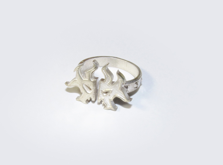 Magic: The Gathering Rakdos Ring(US Size9) 3d printed Polished Silver