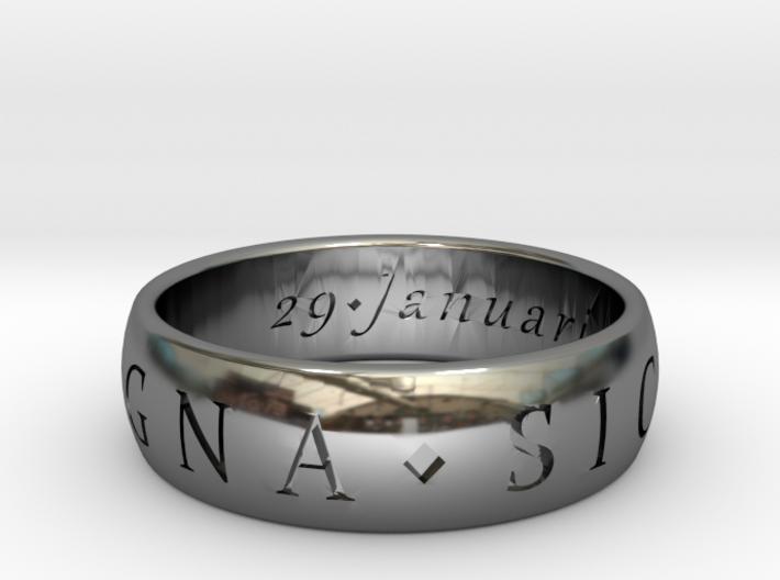 Size 8 Sir Francis Drake, Sic Parvis Magna Ring 3d printed