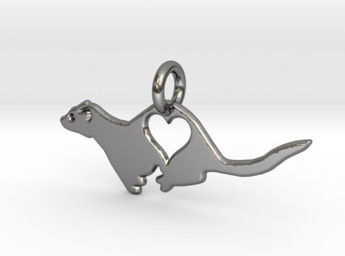 Small ferret love heart pendant 3d printed
