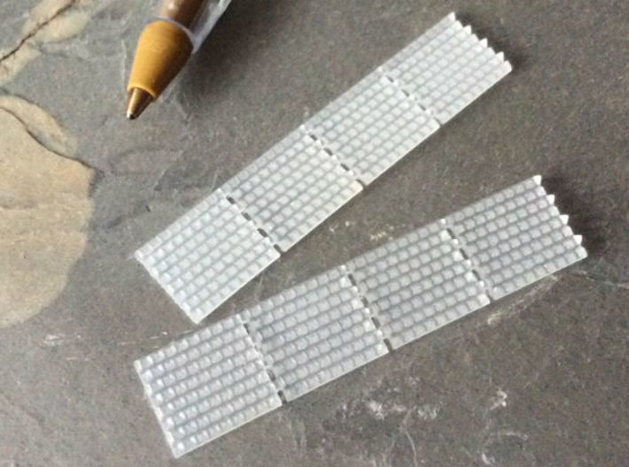 British N Gauge (1/148) Anti Trespass Mat Set of 8 3d printed Size comparison with a standard biro