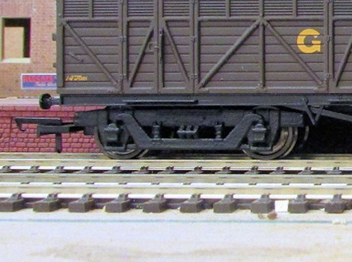 GW 9' American Bogie Hornby Fit 3d printed Finished bogie fitted to Hornby Siphon H after  painting, fitting with Bachmann wheels and Hornby wide couplings (wagon, wheels and couplings not supplied)