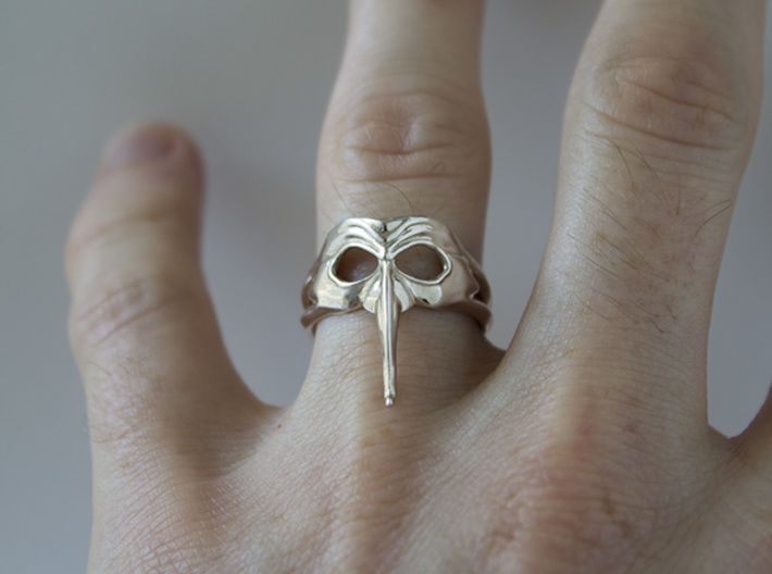 Mask Ring - Zanni 3d printed Polished Silver