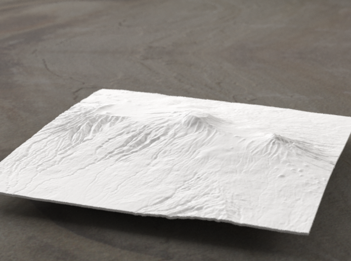 6''/15cm Mt. Kilimanjaro, Tanzania 3d printed Radiance rendering of model, viewed from the south.