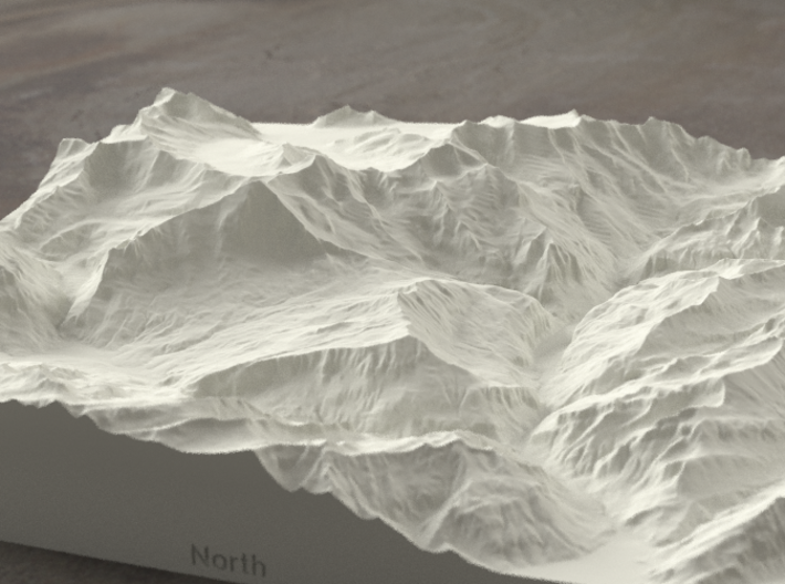 8''/20cm Oberland Peaks, Switzerland, Sandstone 3d printed Radiance rendering of model, looking south toward the Eiger Nordwand.