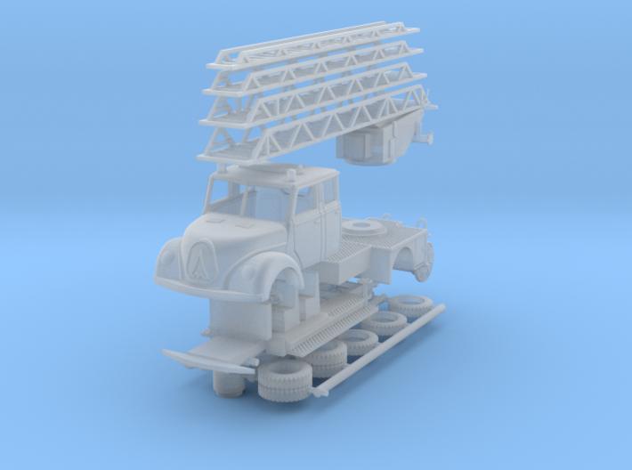 Magirus Mercur Feuerwehr mit Drehleiter 1:120 3d printed