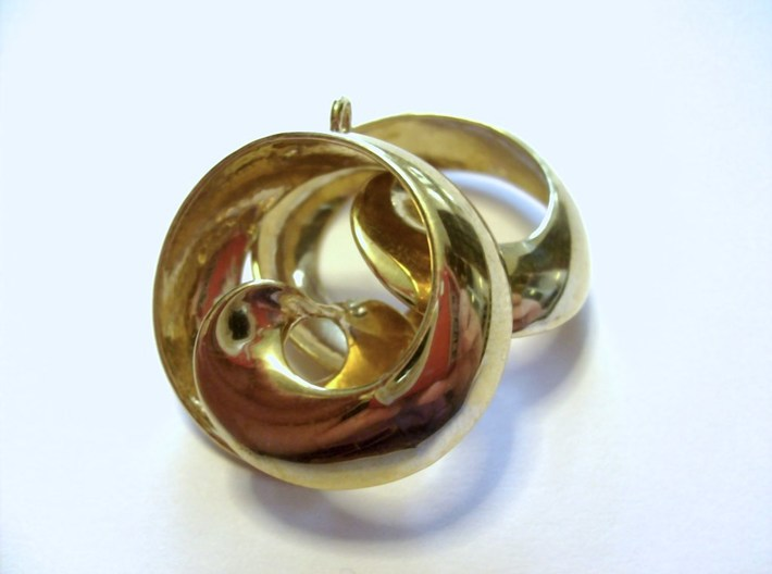 MobTor Earrings: the half Mobius Torus Shell 3d printed in Polished Brass