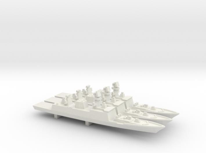 Shivalik-class frigate x 3, 1/1800 3d printed