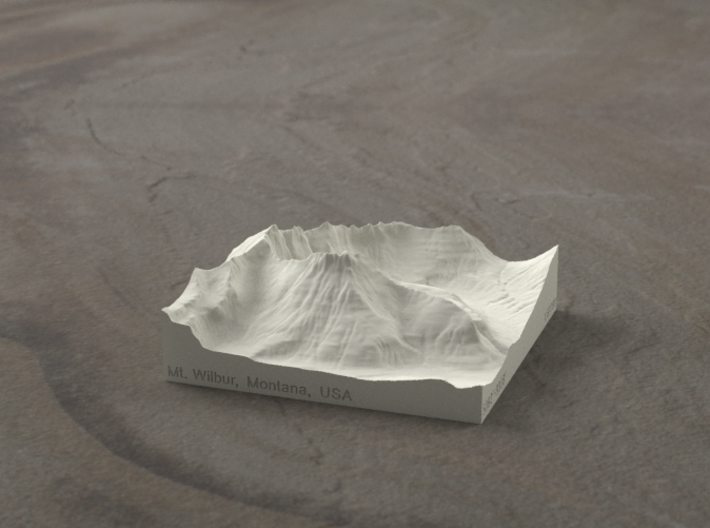 3'' Mt. Wilbur, Montana, USA, Sandstone 3d printed Radiance rendering of model, viewed from the South.