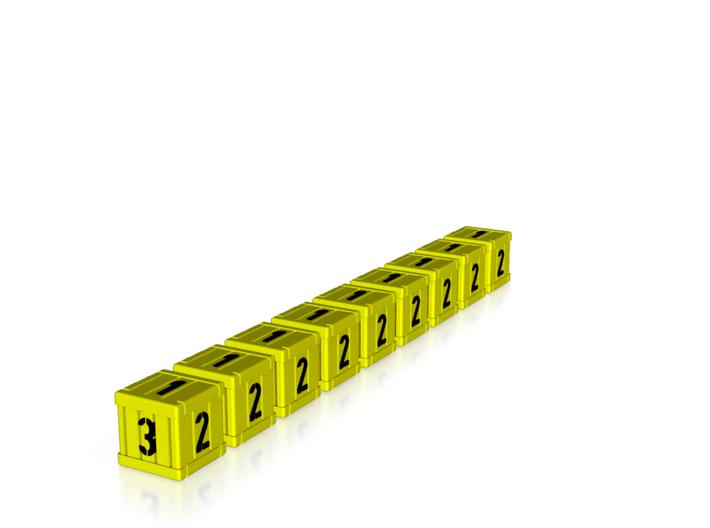 Dice / Crates - Full colour - Yellow (9pcs) 3d printed