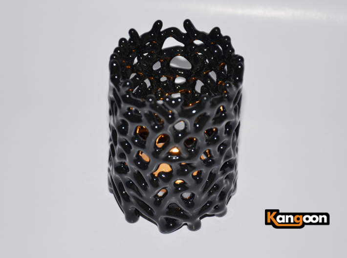 Coraline Tealight 6 Ceramic Colors 3d printed Gloss Black Ceramics - printed
