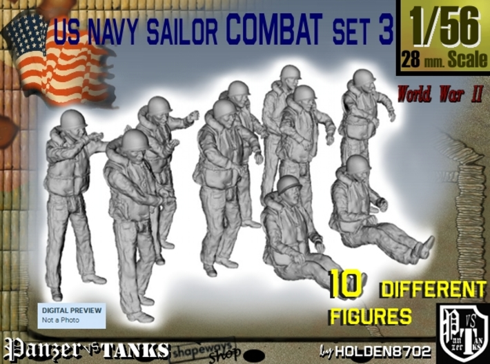 1-56 US Navy Sailors Combat SET 3 3d printed