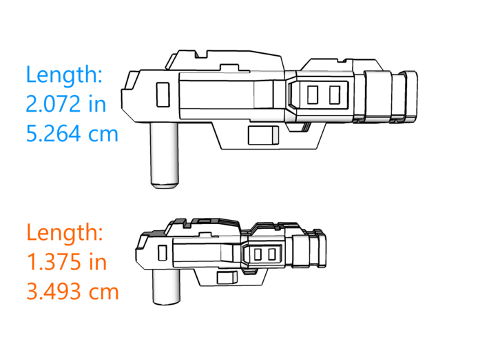 """""""Lockout"""" Pistol RESIZED 5mm post 3d printed"""