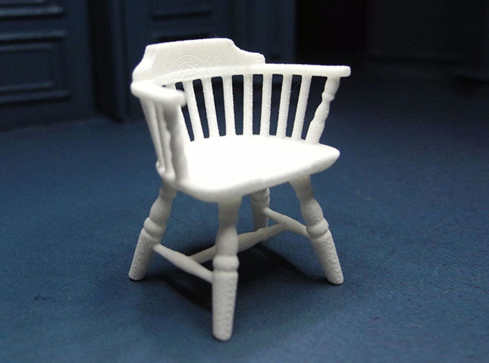 1:24 Low Back Windsor Chair 3d printed Printed in White, Strong & Flexible