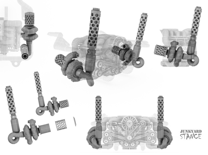 Sand Scorcher Twin Turbo Exhausts (pair) 3d printed Turbo Exhausts Design