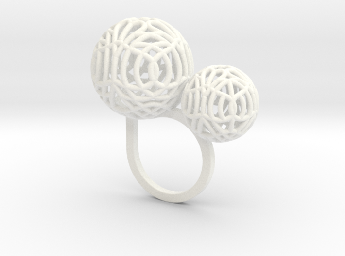 2 Polyps ring--singlefinger ring size(S) 3d printed