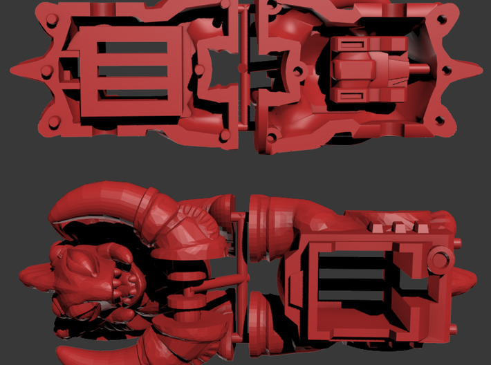 Slog Faceplate & Shell Kit (Titans Return) 3d printed Render of the kit, front and back.