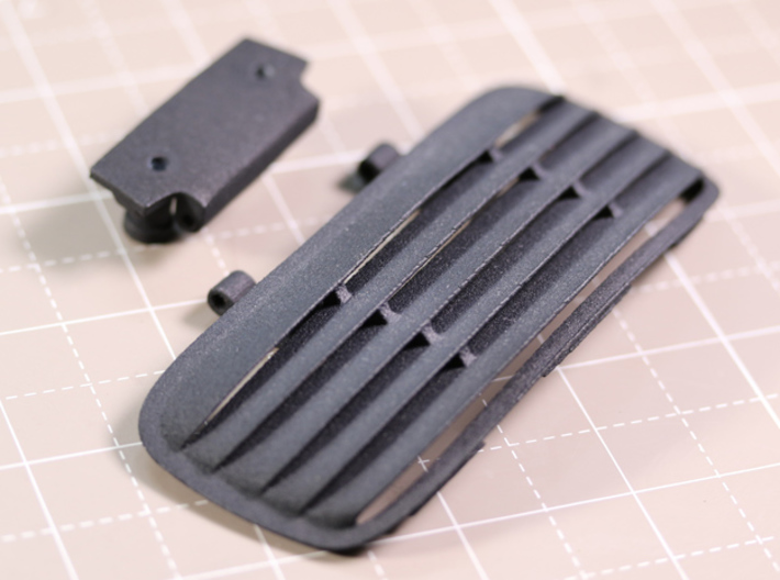 Sand Scorcher Louvered Rear Sun Shade 3d printed This part includes two separate pieces, the Louvered Rear Sun Shade and the Hinge