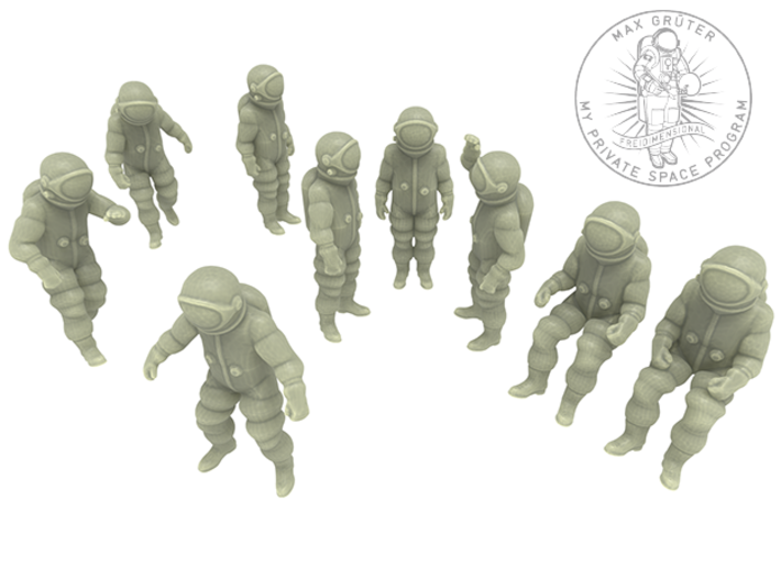 Generic Astronauts Set / 1:87(H0) 3d printed