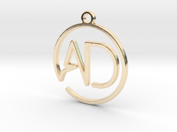 A & D monogram Keychain 3d printed