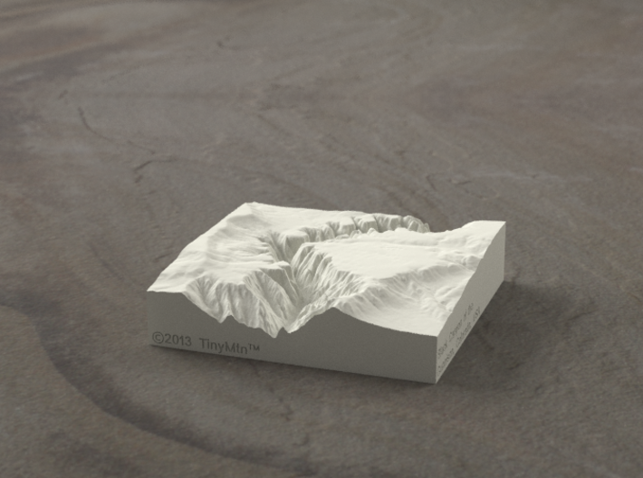 3'' Black Canyon of the Gunnison, CO, Sandstone 3d printed Radiance rendering of model, viewed from the West