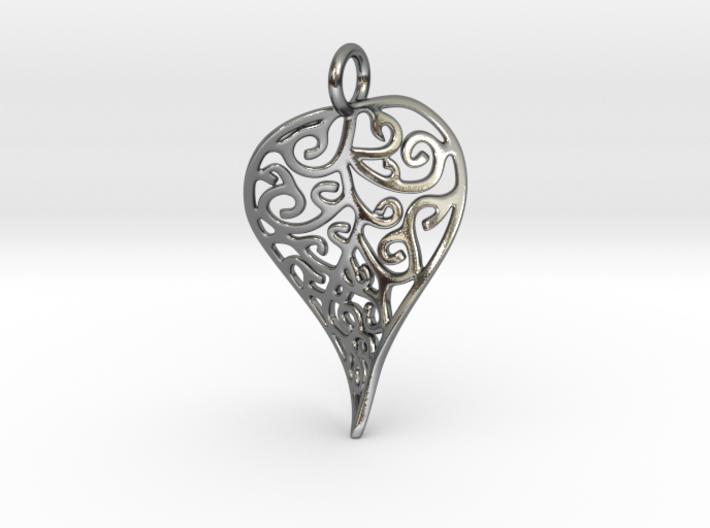 Fine Twisted Leaf Pendant 3d printed