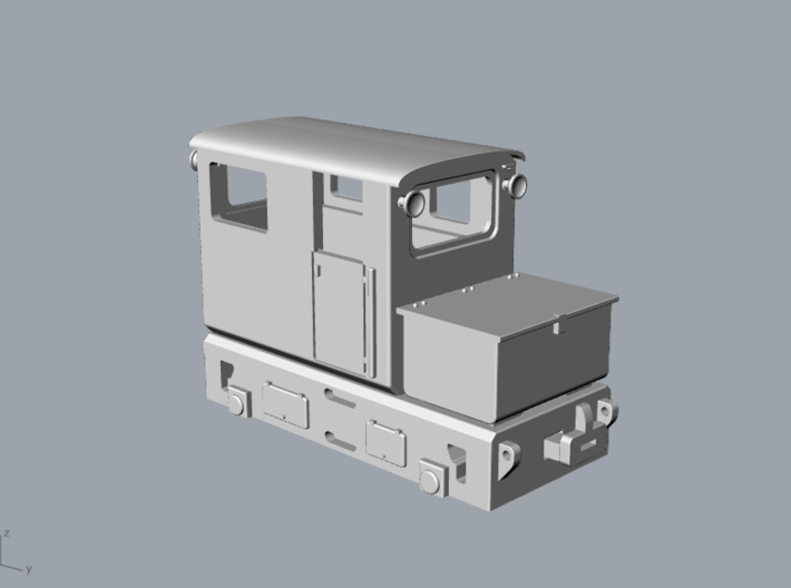 Tunneling battery locomotive H0e 3d printed narrow gauge tunneling battery locomotive H0e