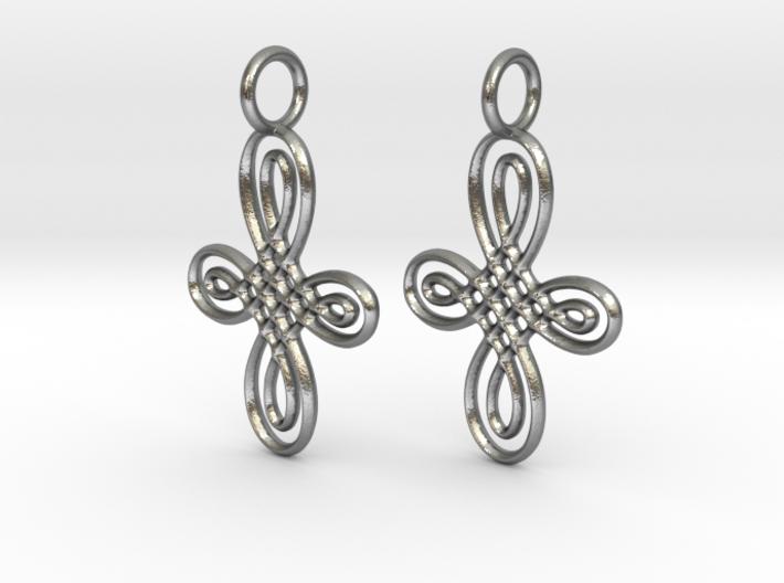 Celtic Round Cross Earrings 3d printed