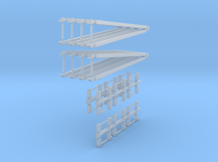 96-H0120: Set Of Tow Bars + Wheelcocks 1:96 3d printed
