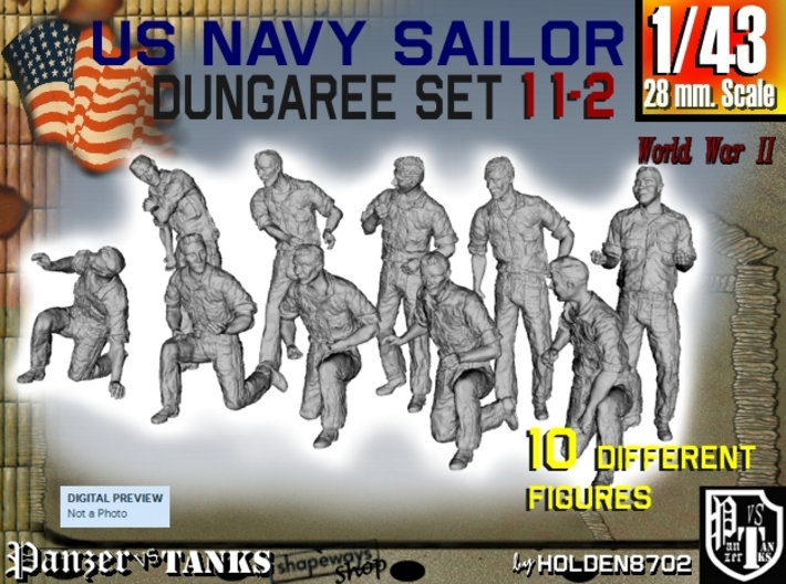 1-43 US Navy Dungaree Set 11-2 3d printed