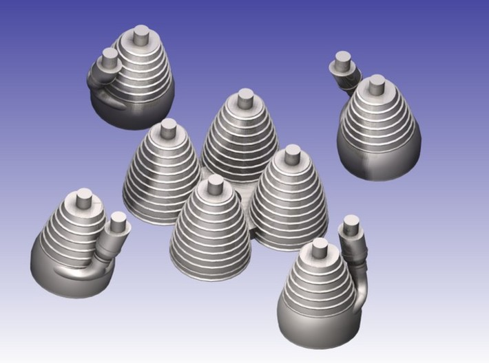 Saturn I H-1 Engines (1:144 Scale) 3d printed H-1 Engines shown in 'Scale' positions (CAD Render)
