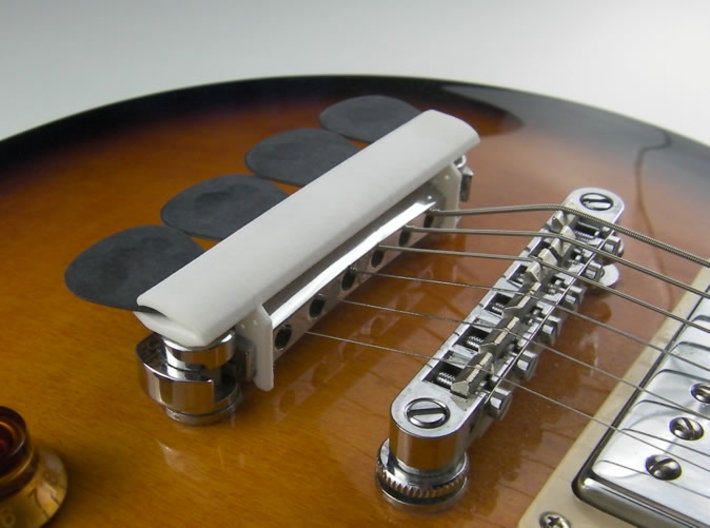 Bridge Pick Holder for Gibson Tune-O-Matic Bridge 3d printed Bridge Pick Holder for Gibson in White Polished Strong & Flexible Plastic