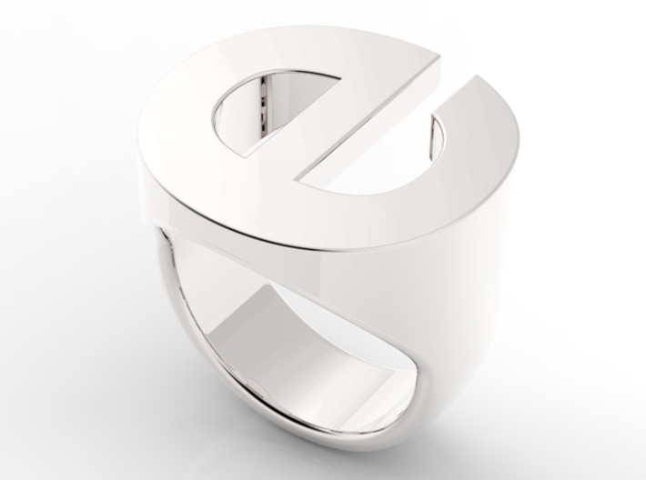 Helvetica E Ring 3d printed