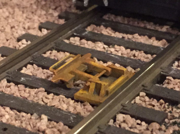 O Scale Derails (Flip-Type, Set of 4) 3d printed Derail installed on the layout; shown in the open position