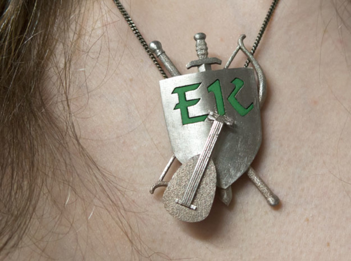 The Emerald Knights Badge1 3d printed Partly polished with a diamond file, EK letters in green plastic added